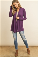 S15-4-3-RFC3009-PRS-PPL - SOLID CARDIGAN OPEN FRONT- PURPLE 1-2-2-2