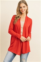 S15-5-2-RFC3009-PRS-RD - SOLID CARDIGAN OPEN FRONT- RED 1-2-2-2