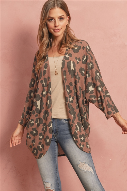 S10-10-2-RFC3017-RAP109-BWN-1 - ANIMAL PRINT DOLMAN CARDIGAN WITH SIDE POCKETS- BROWN 1-3-3