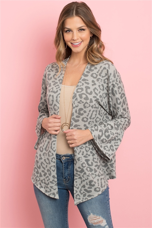S11-5-3-RFC3019-RAP1055-GY - ANIMAL PRINT BELL SLEEVE OPEN CARDIGAN- GREY 1-2-2-2