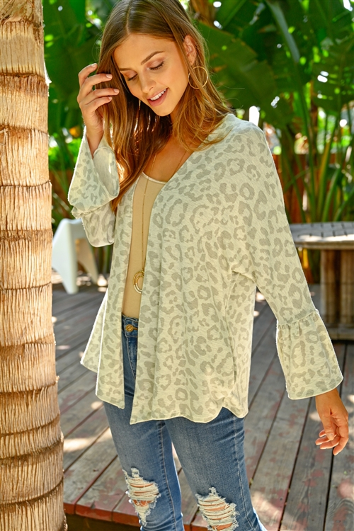 S11-5-3-RFC3019-RAP105-LTHGMGY - ANIMAL PRINT BELL SLEEVE OPEN CARDIGAN- LIGHT HEATHER GREY/MEDIUM GREY 1-2-2-2