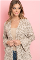 S11-5-3-RFC3019-RAP105-SND - ANIMAL PRINT BELL SLEEVE OPEN CARDIGAN- SAND 1-2-2-2