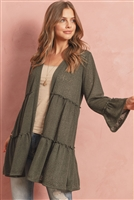S4-3-1-RFC3022-TIARA-OV - TIERED SEMI-SHEER OPEN CARDIGAN- OLIVE 1-2-2-2