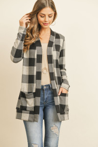 S13-11-3-RFC3030-RPL010-OTMBK OATMEAL BLACK PLAID LONG SLEEVED FRONT POCKET OPEN CARDIGAN 1-2-2-2