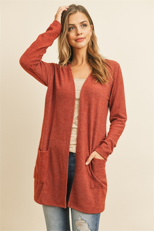 S4-3-3-RFC3037-RSW028-BRK - SOLID LONG SLEEVED OPEN FRONT POCKET CARDIGAN- BRICK 1-2-2-2
