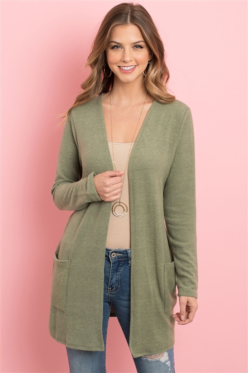 S4-3-3-RFC3037-RSW028-OV - SOLID LONG SLEEVED OPEN FRONT POCKET CARDIGAN- OLIVE 1-2-2-2