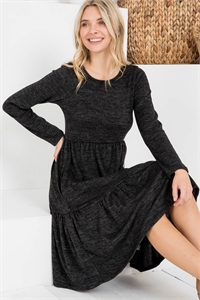 S15-10-4-RFD1004LS-2THC-CHL CHARCOAL TWO TONE BRUSHED HACCI TIERED POCKET DRESS 1-2-2-2