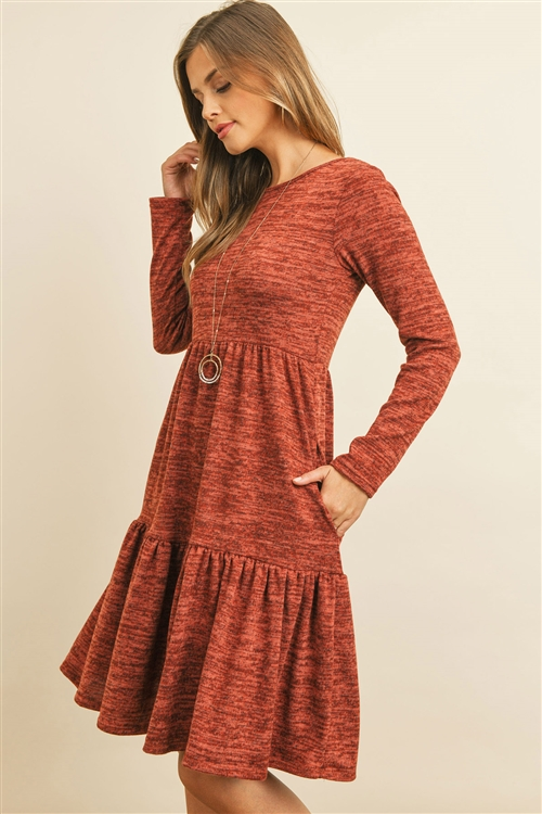 S10-15-1-RFD1004LS-2THC-RST-1 - TWO TONE BRUSHED HACCI TIERED POCKET DRESS- RUST 1-3-1