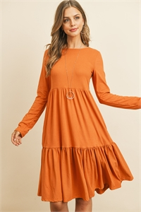 S9-10-3-RFD1004LS-DTYB-IOD - SOLID LONG SLEEVE DOUBLE LAYERED RUFFLE DRESS- IODINE 1-2-2-2