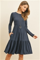 S10-9-1-RFD1004LS-DTYB-NVN - SOLID LONG SLEEVE DOUBLE LAYERED RUFFLE DRESS- NAVY NEW 1-2-2-2