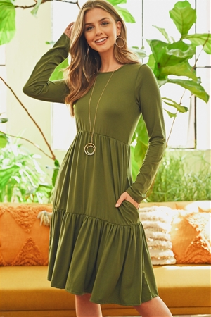 S4-9-3-RFD1004LS-DTYB-OV - SOLID LONG SLEEVE DOUBLE LAYERED RUFFLE DRESS- OLIVE 1-2-2-2