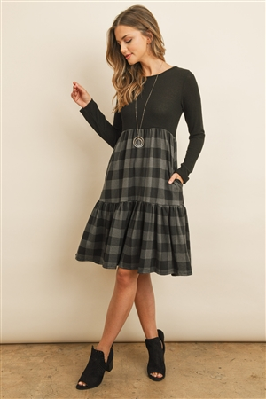 S16-7-4-RFD1004LS-RPL008C-BKCHL - PLAID CONTRAST THREE LAYER DRESS- BLACK/CHARCOAL 1-2-2-2