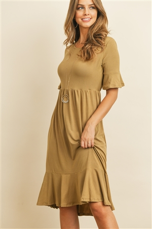S9-1-4-RFD1021-DTYB-DKCML - SOLID CINCH WAIST RUFFLE DRESS- DARK CAMEL 1-2-2-2
