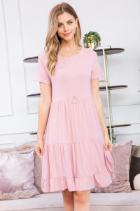S16-9-1-RFD1027SS-RSJ-DSTRS-2 - RUFFLE HEM LAYERED MIDI DRESS- DUSTY ROSE 0-2-2-1