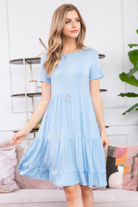 S16-9-1-RFD1027SS-RSJ-ICBL-1 - RUFFLE HEM LAYERED MIDI DRESS- ICE BLUE 0-0-2-3