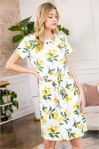 S10-15-2-RFD1035SS-RPR022-IV-2 - CINCH WAIST POCKET LEMON PRINT DRESS- IVORY 0-1-3-0