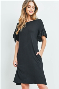 S16-12-3-RFD1038-RSJ-BK-1 - FLUTTER SLEEVE POCKET DRESSES- BLACK 0-0-2-0