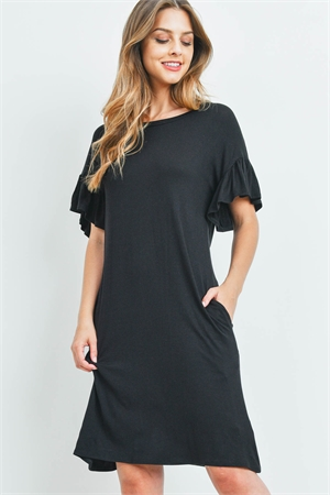 S10-12-1-RFD1038-RSJ-BK - FLUTTER SLEEVE POCKET DRESSES- BLACK 1-2-2-2