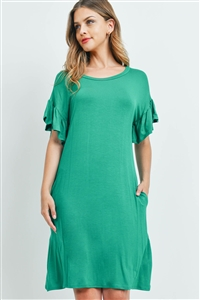 S16-12-3-RFD1038-RSJ-KG-1 - FLUTTER SLEEVE POCKET DRESSES- KELLY GREEN 0-2-1-2