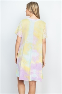S16-7-3-RFD1040SS-RTD010-LVMNBN-3 - TIE DYE V-NECK POCKET SWING DRESS- LAVENDER/MINT/BANANA 1-2