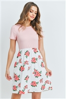 S9-19-2-RFD1043SS-RFL041C-BLS-1 - FLORAL PRINT CONTRAST EMPIRE WAIST DRESS- BLUSH 2-2-2
