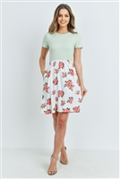 S8-14-2-RFD1043SS-RFL041C-SG-2 - FLORAL PRINT CONTRAST EMPIRE WAIST DRESS- SAGE 2-3-2