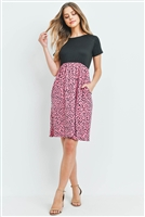 S15-8-4-RFD1043SS-RPR019C-BKMV-1 - EMPIRE WAIST DALMATIAN CONTRAST DRESS- BLACK/MAUVE 2-1-1