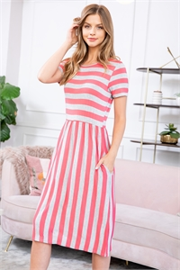 S16-10-2-RFD1043SS-RS003ST-HGCRL-1 - SHORT SLEEVED STRIPED POCKET DRESS- HEATHER GREY/CORAL 1-1-0-2