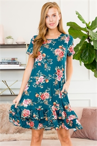S14-8-2-RFD1046SS-F07-GN - SHORT SLEEVED FLORAL MIDI RUFFLED DRESS- GREEN 0-1-2-0