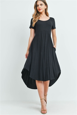 S9-3-3-RFD1052-RSJ-BK - HIGH-LOW EMPIRE POCKET DRESS- BLACK 1-2-2-2