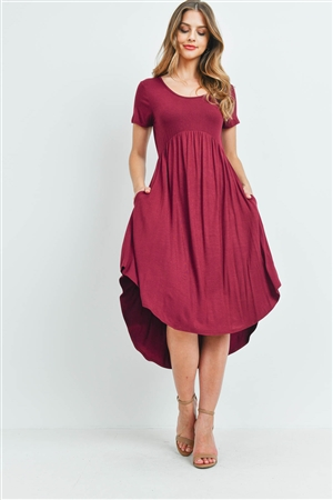 S11-9-1-RFD1052-RSJ-BU - HIGH-LOW EMPIRE POCKET DRESS- BURGUNDY 1-2-2-2