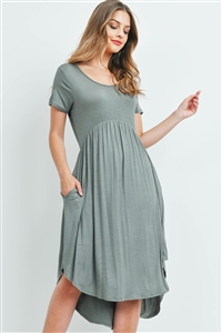 S9-14-2-RFD1052-RSJ-DSTOV-1 - HIGH-LOW EMPIRE POCKET DRESS- DUSTY OLIVE 0-1-2-2