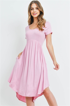 S9-2-1-RFD1052-RSJ-DSTPK - HIGH-LOW EMPIRE POCKET DRESS- DUSTY PINK 1-2-2-2
