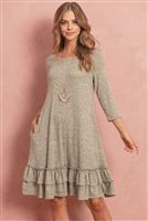 S10-7-1-RFD1058-RSW004-OTM - TWO TONE BRUSHED HACCI TIERED BOTTOM POCKET DRESS- OATMEAL 1-2-2-2