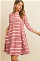S12-11-3-RFD1073-RS017-NMV - STRIPE HACCI POCKET DRESS- NEW MAUVE 1-2-2-2