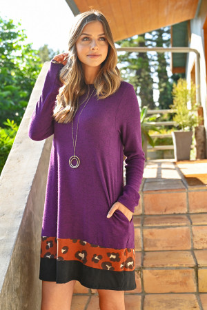 S10-10-2-RFD1077-RAP017C-EPRST EGGPLANT RUST LONG SLEEVE LEOPARD CONTRAST DRESS 1-2-2-2