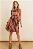 S11-13-3-RFD1078-RPL014-TPBK - 3/4 SLEEVE PLAID DRESS- TAUPE/BLACK 1-2-2-2