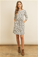 S10-5-3-RFD1082-RAP121-IV - LONG SLEEVE LEOPARD PRINT CINCH WAIST DRESS- IVORY 1-2-2-2