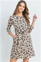 S10-5-3-RFD1082-RAP121-KHK -  LONG SLEEVE LEOPARD PRINT CINCH WAIST DRESS- KHAKI 1-2-2-2