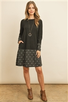 S9-9-1-RFD1093-RPD026C-BKCHWT BLACK CHARCOAL WHITE POLKA DOT BOTTOM CONTRAST POCKET MIDI DRESS 1-2-2-2