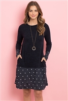 S8-13-2-RFD1093-RPD026C-NVNVWT NAVY NAVY WHITE POLKA DOT BOTTOM CONTRAST POCKET MIDI DRESS 1-2-2-2