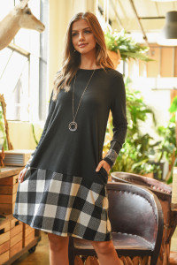 S9-12-1-RFD1093-RPL019C-BKIV - PLAID HEM LONG SLEEVE HACCI BRUSHED DRESS- BLACK/IVORY 1-2-2-2