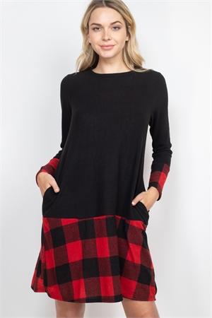 S9-12-1-RFD1093-RPL019C-BKRD - PLAID HEM LONG SLEEVE HACCI BRUSHED DRESS- BLACK/RED 1-2-2-2