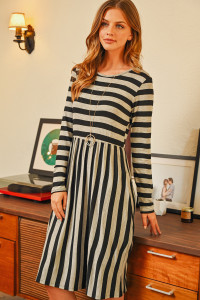 S9-20-4-RFD1111-RS037-BKGY BLACK GRAY STRIPED LONG SLEEVE CINCH WAIST DRESS 1-2-2-2