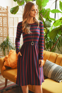 S9-19-4-RFD1111-RS037-WNNV WINE NAVY STRIPED LONG SLEEVE CINCH WAIST DRESS 1-2-2-2