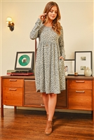 S9-8-1-RFD1114-RAP098-DGYOTM - CINCH WAIST LEOPARD LONG SLEEVED DRESS- DARK GREY OATMEAL 1-2-2-2