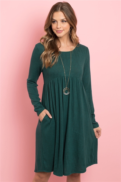 S11-18-3-RFD1114-RSW008-HTGN - BOAT NECK BRUSHED HACCI ROUND HEM DRESS- HUNTER GREEN 1-2-2-2