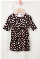 S10-14-4-RFKD1003QS-RFL051-BK - TODDLER GIRLS QUARTER SLEEVE FLORAL DRESS- BLACK 2-2-2-2