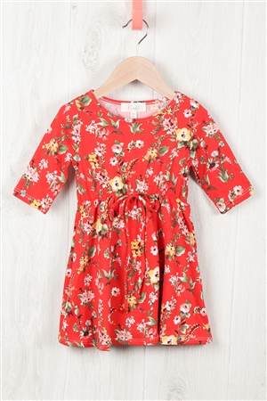 S10-5-2-RFKD1003QS-RFL074-TMT - TODDLER GIRLS PAINTED FLORAL DRESS- TOMATO COMBO 2-2-2-2
