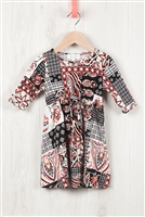 S10-5-2-RFKD1003QS-RPR036-BK - TODDLER GIRLS ABSTRACT PRINT RIBBON DETAIL DRESS- BLACK COMBO 2-2-2-2